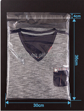 plastic resealable custom printed clear bag for garment