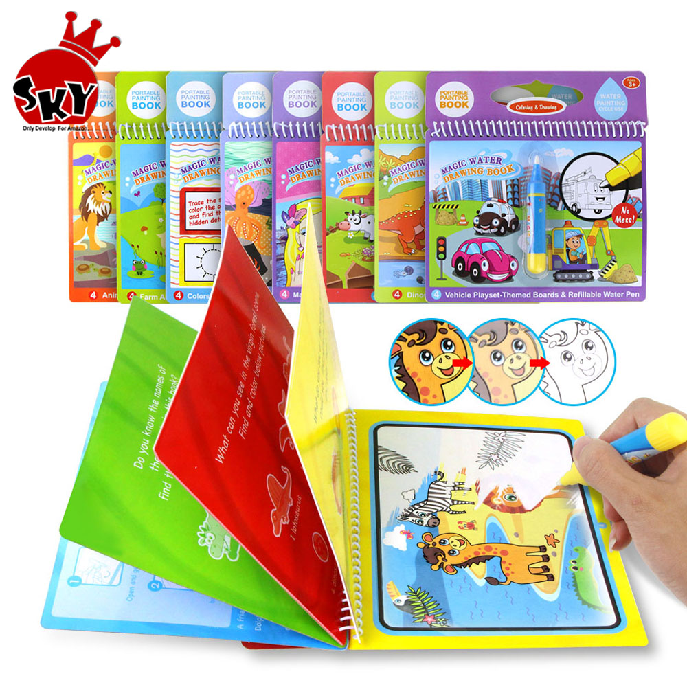 8 Types Magic Water Drawing Book Coloring Book Doodle & Magic Pen Drawing Painting Board Set For Kids Toys Birthday Gift