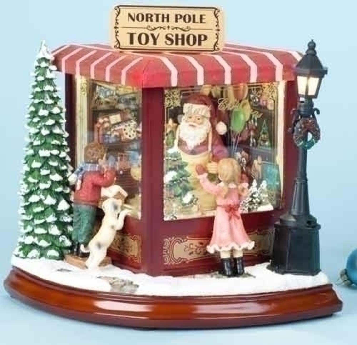 "Roman 8"" Amusements LED Lighted Animated & Musical North Pole Christmas Toy Shop"