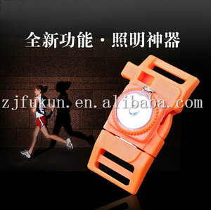 New Arrival Multi-fonction Fire Starter Flint Compass Shackle Whistle With LED Paracord Bracelet Buckle / Shackle