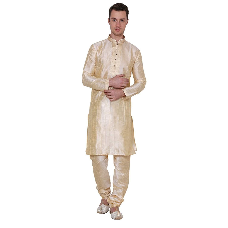 Royal Kurta Mens Self Kurta Silk Blend Kurta Churidar Set