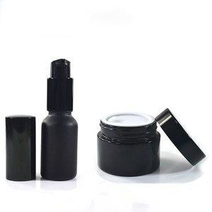 Luxury skin care body lotion 30ml 50ml 100ml matte black frosted glass bottle and jar