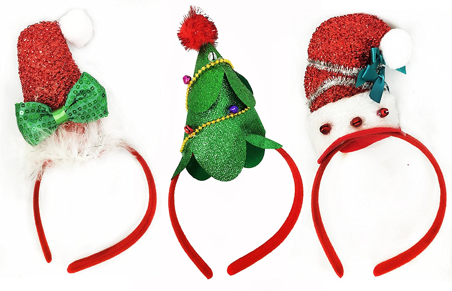 035c7f158414c Get Quotations · Charmed Pack of 3 Christmas Headbands with 3 Designs for  Christmas and Holiday Santa Hat and