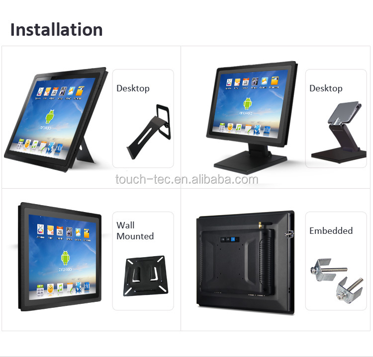 Kiosk Square Screen Industrial Desktop Embedded Touch Screen 15 inch Android all in one panel PC