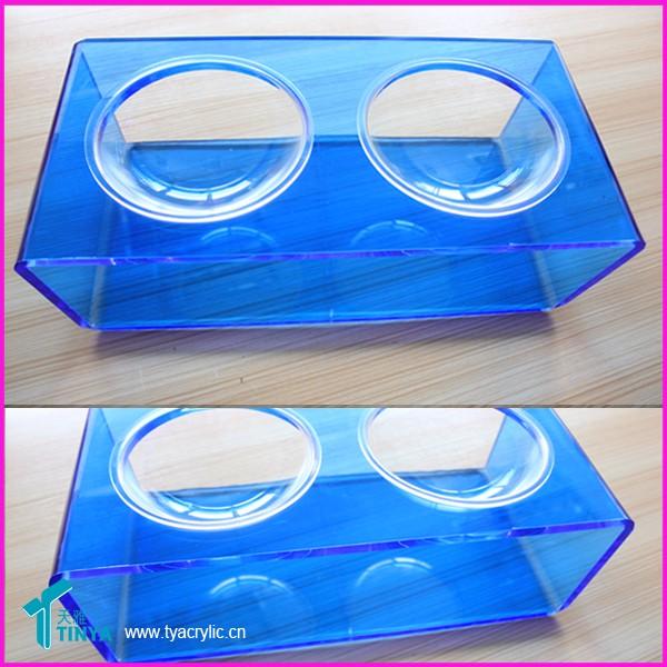 Tazón de acrílico del animal doméstico para los perros y los gatos, soporte de acrílico con 2 tazones de fuente de acrílico