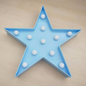 Vegas Carnival Battery Plastic Vintage Marquee Blue Star Shape led light