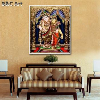 Classical Krishna Tanjore Paintings For Office Decoration