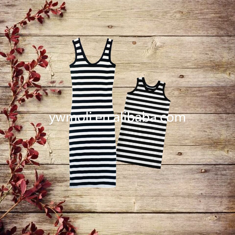 new design black and white stripe mother daughter matching dress family set clothes for mother and children dress