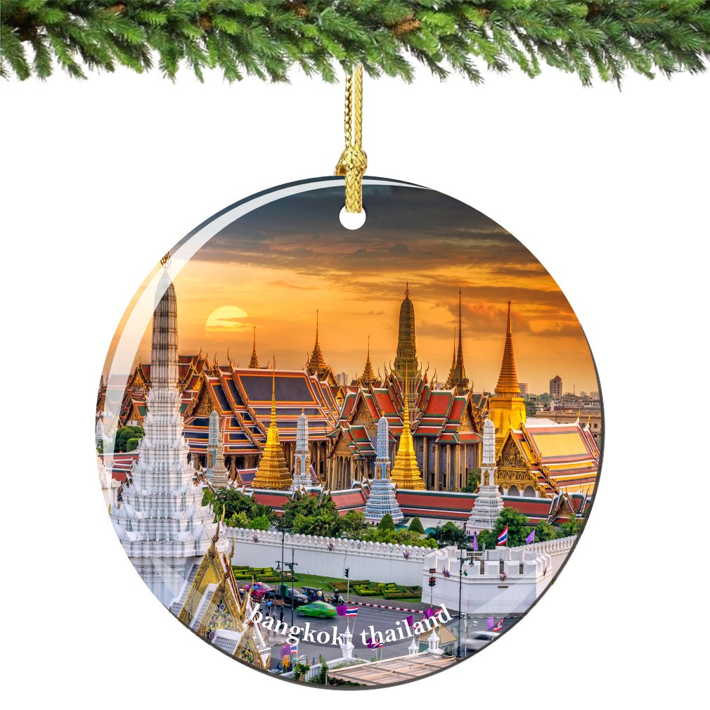 Bangkok Thailand Christmas Ornament Porcelain 2.75 Inches Double Sided