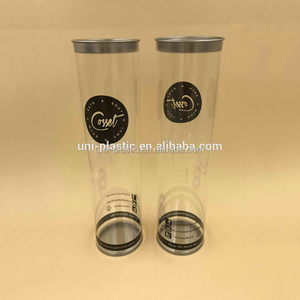Clear plastic cylinder tube /round packaging with tinplate lid and bottom