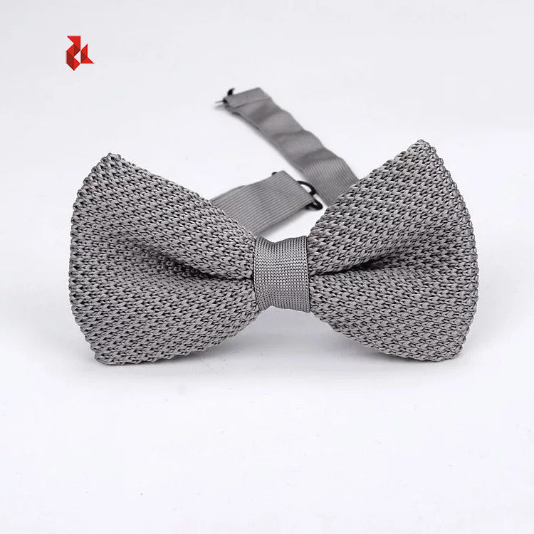 Wholesale Mixed Color Solid Polyester Knitted Bow Ties Men