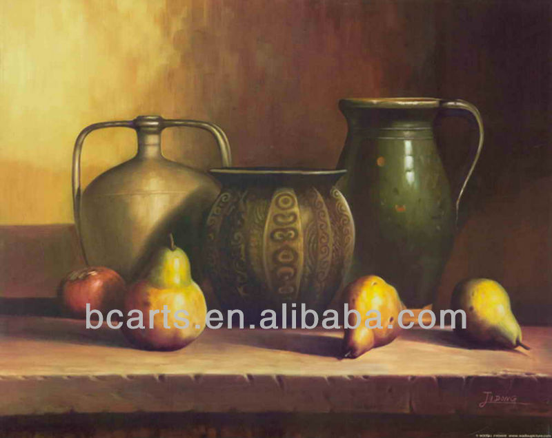 Handmade Clay Pot Fruit Pears still life Oil Paintings for wall decor