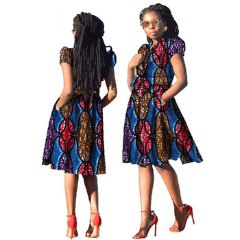 fbbcc0ea591 Women African Clothing 2017 Dashiki Short Sleeve Dress Knee-Length A-Line  African Print