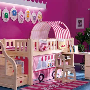 Pink Dream Girl Kids Bedroom Furniture Children Storage Stair Case