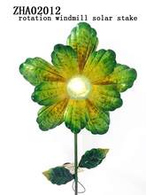 Flower shape Out door decoration Metal Wind Spinner by Solar Power Garden Stake Sample Free