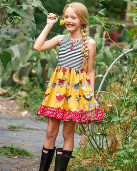 cb27ff57d572 Chicken printing hot selling baby frocks designs 100% cotton wholesale  boutique girl summer dress