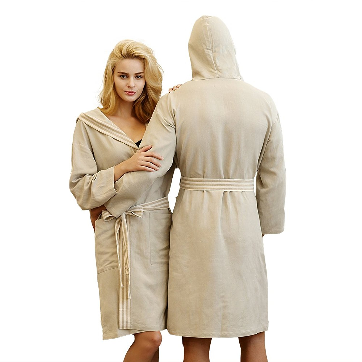 387f1cb84e Get Quotations · 7 VEILS Men and Women Couple Cotton and Lined with Hooded  Spa Robes