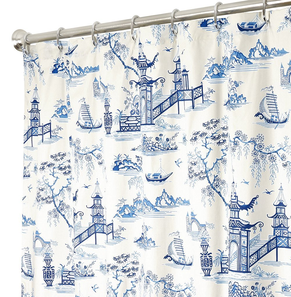 Get Quotations Extra Long Shower Curtain Fabric Curtains Bathroom Blue Toile 84