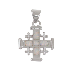 Opal Cross charm Pendant Solid 925 Sterling Silver necklace Fine Fashion Crystal Jewelry