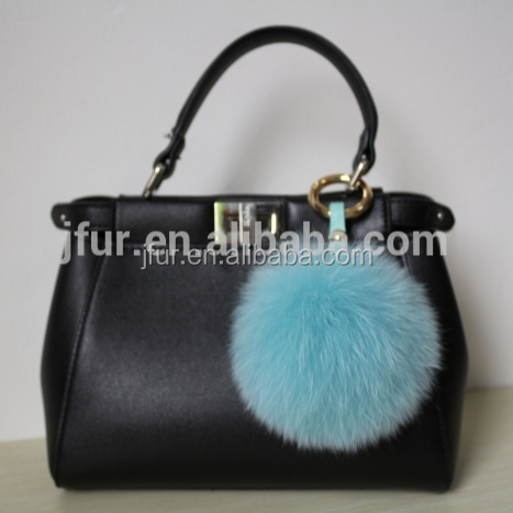 Marvelous Style Baby Blue Fox Fur Ball Leather Strap Keyring/Pendant Lively Fox Fur Pompom Keychain