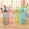 Camping plastic mist spray drinking water bottle thermo cool water bottle with straw