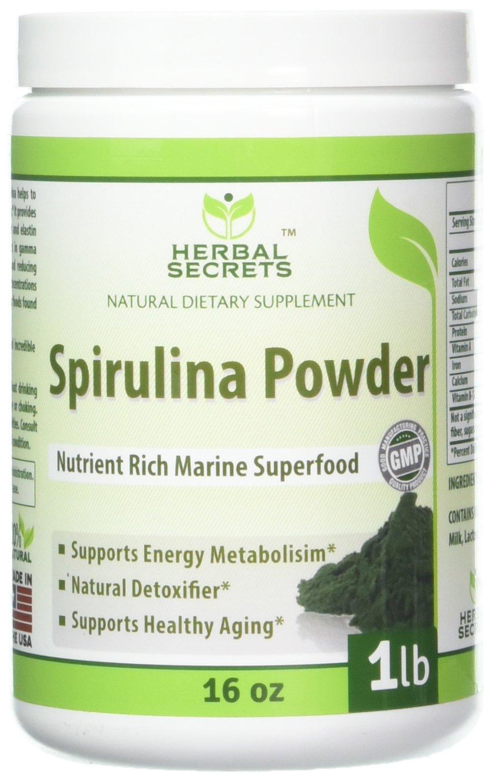 Herbal Secrets Non-GMO Spirulina Powder 1 lb (16 oz) - Highest Quality Spirulina on Earth - 100% Vegetarian, Gluten Free & Non-Irradiated - Blue Green Algae Perfect for Smoothies, Juices & More