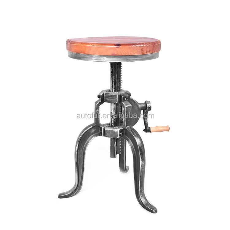 High quality Cheap price metal legs wooden top swivel bar stool