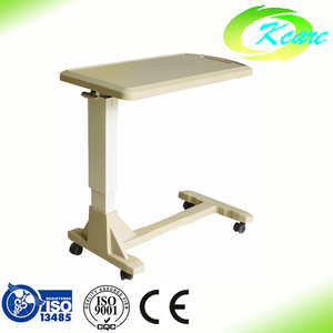 wooden/ ABS height adjustable hospital over bed table with wheels