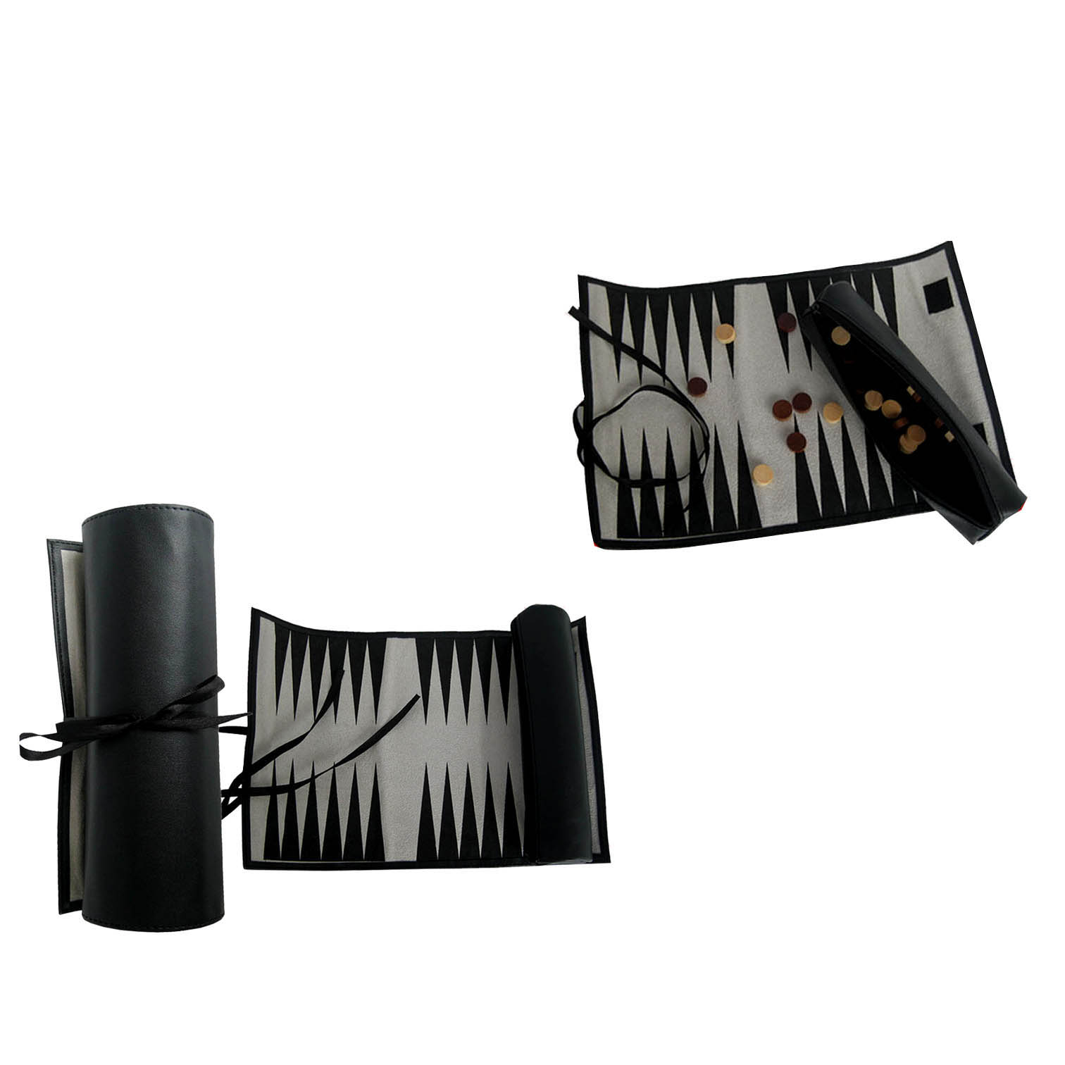 Black  travel chess backgammon roll with nice dice