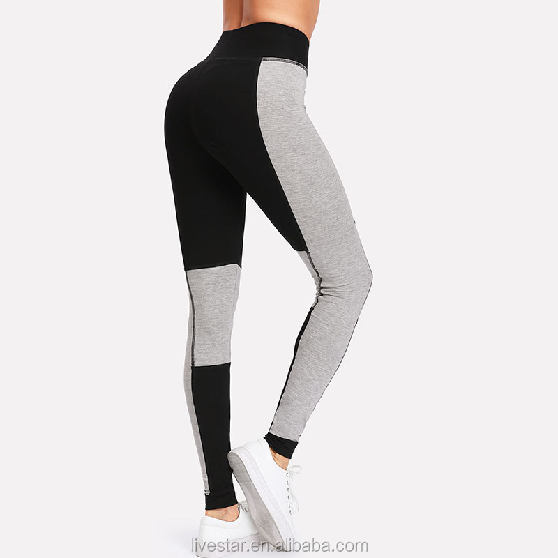 Wholesale Patchwork Women Active High Waist Crop Sports Leggings