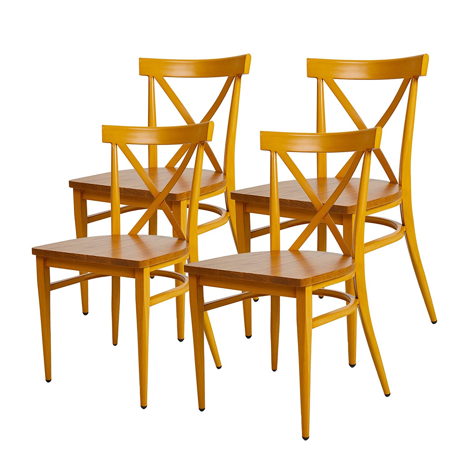 Get Quotations Karmas Product 4 Pack Stackable Metal Dining Chairs W Wood Seat Indoor Outdoor