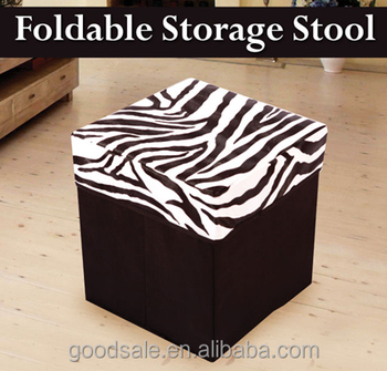 Zebra Print Foldable Ottoman Pouff Leather Storage Container Buy