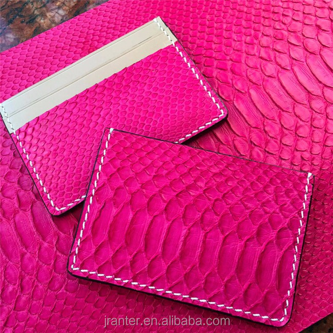 Business credit card pouch bag handcrafted python snakeskin leather id card holder