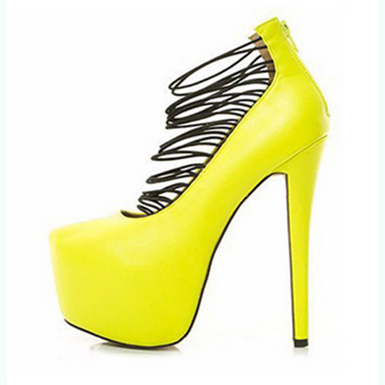 87f800e0628 Yellow women shoes stilettos 12cm high heel zip pump zip fashion party  evening wear elastic rope dress shoe