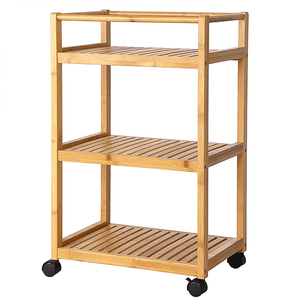 Environmental protection eco-feature nature wooden kitchen furniture storage trolley cart