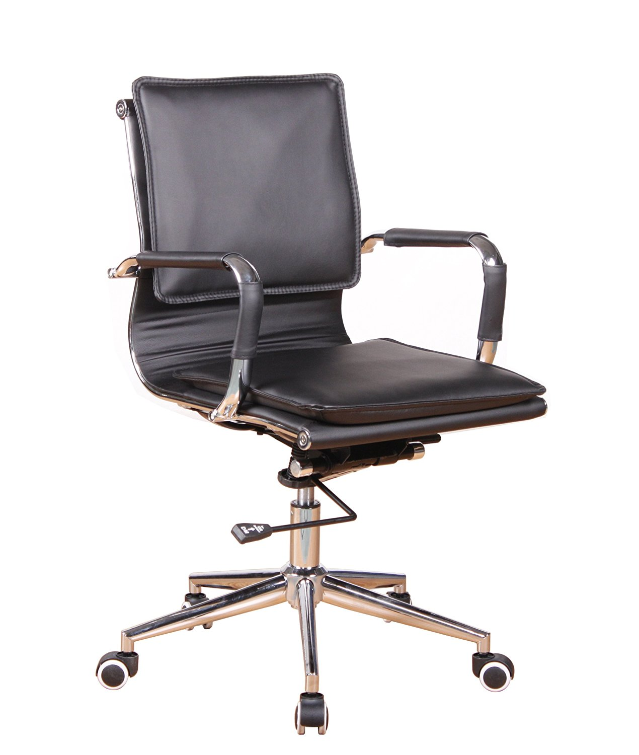 Office Factor Black Bonded Leather Modern Contemporary Managers Executive Desk Chair Polyurethane Casters For Hard