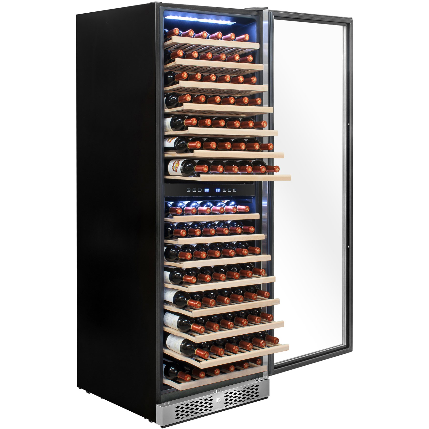 AKDY 160 Bottles Dual Zone Freestanding Touch Control Adjustable Wine Cooler Refrigerator w/Built-in Compressor