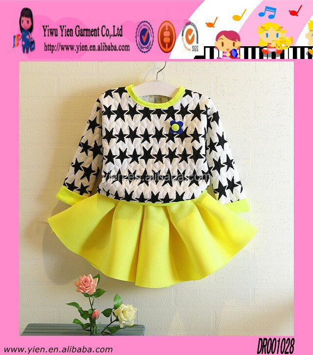 Hot Sale Pattern Printed Two Piece Dress Girl Favorite Casual Autumn Cotton Western Dress Designs For Baby