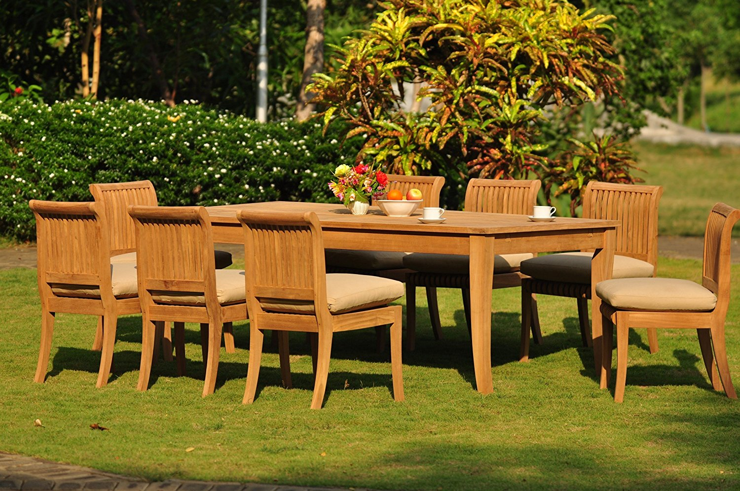 """TeakStation 8 Seater 9 Pc Grade-A Teak Wood Dining Set: Large Atnas 122"""" Dining Rectangle Table Table and 8 Giva Armless Chairs TSDSGV51"""