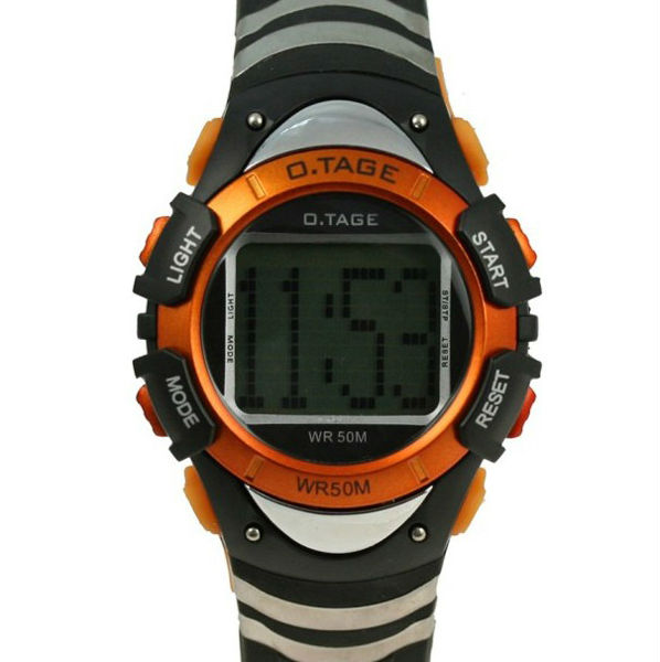 Fashion Black Orange Multi-function Digital Boys Sports Watch