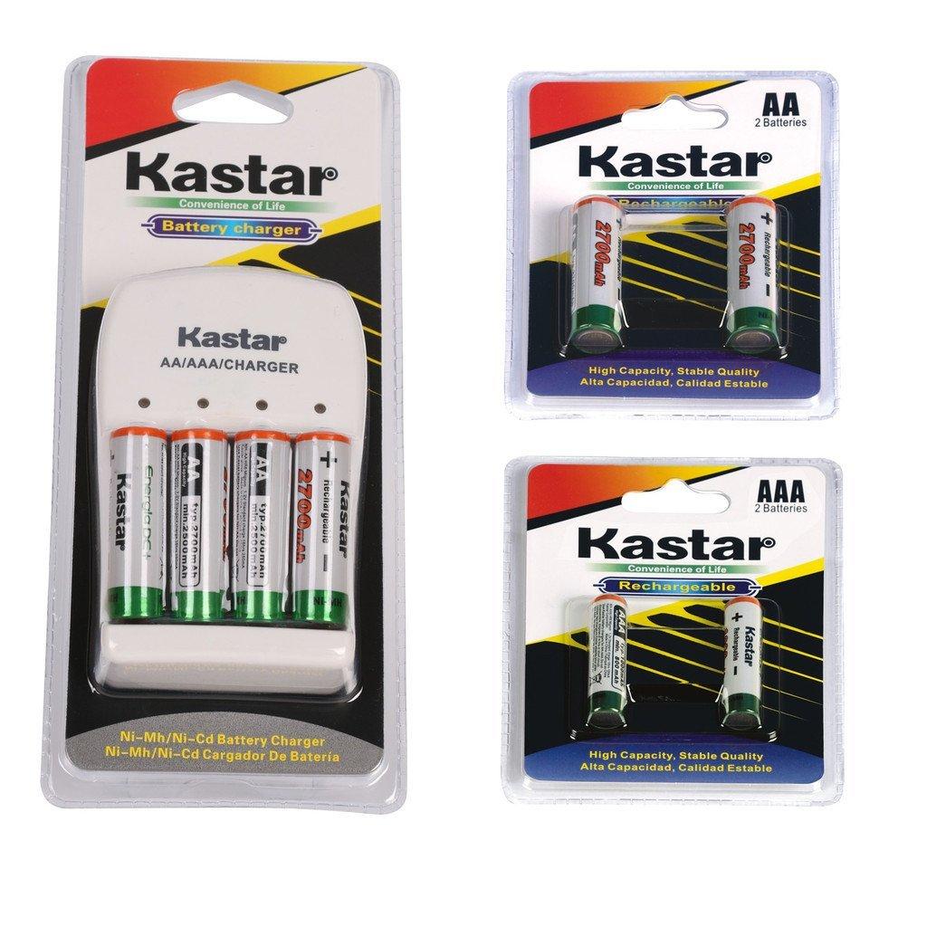 Kastar Rechargeable Ni-MH Battery AA 2700mAh 2PCS(1-PACK) + AAA 1000mAh 2PCS(1-PACK) and AA/AAA Charger Bundle Pack
