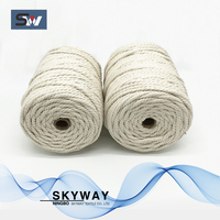 3mm 4mm 5mm 6mm twisted cotton macrame cord natural color cotton cord