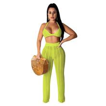 Женский ажурный комплект из двух предметов Adogirl, комплект из прозрачного бюстгальтера и топа и брюк для ночного клуба на лето, 2020(Китай)
