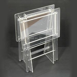 Acrylic TV Trays Stand Counter Transparency Folding Lucite Table