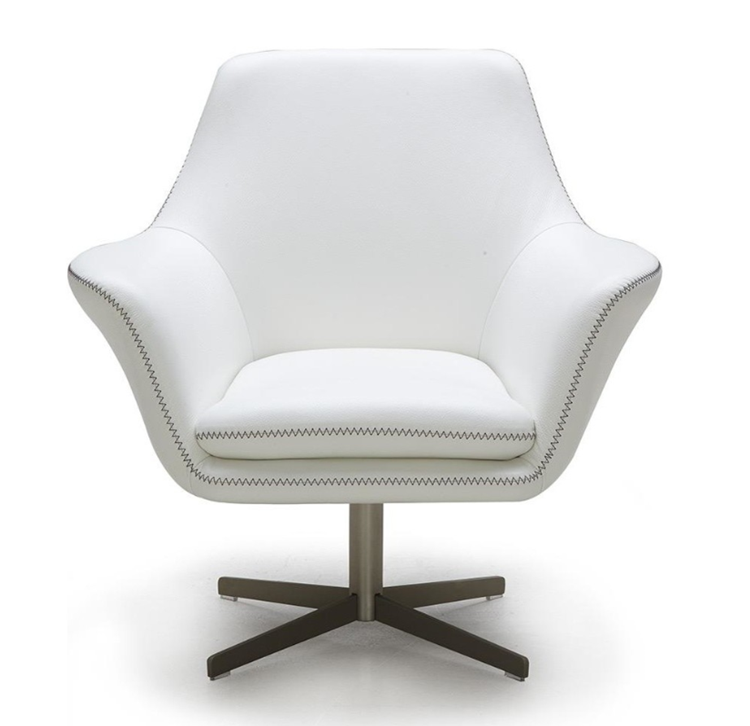 European Grey Modern Leather Swivel