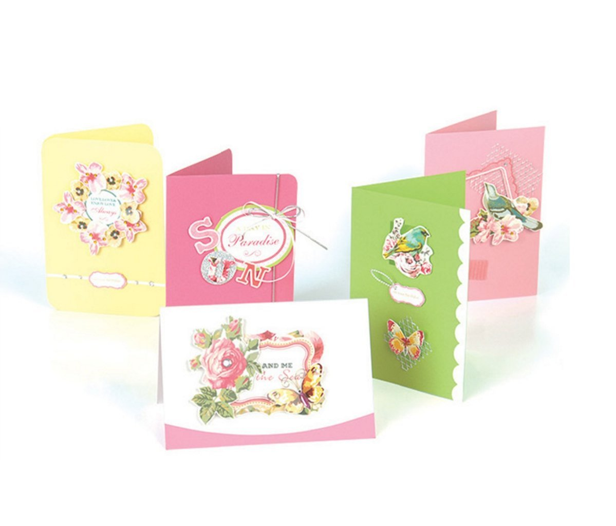 GUchina Make Your Own Greeting Cards Kit, Do-It-Yourself Cards Crafter-15 Cards Set(15 Envelopes Included)- for Beginners/ Kids/Party/Holiday/Gifts/ Mother's Day(SKB009)