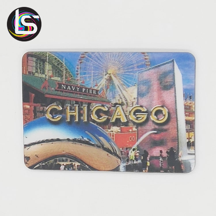 High quality cheap custom souvenirs gift home decoration 3d hologram card landscape printing fridge magnet