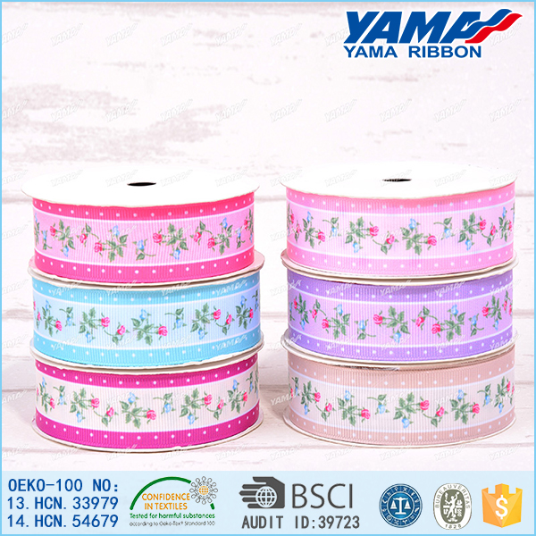Fujian supply female clothes decoration pink flower grosgrain ribbon