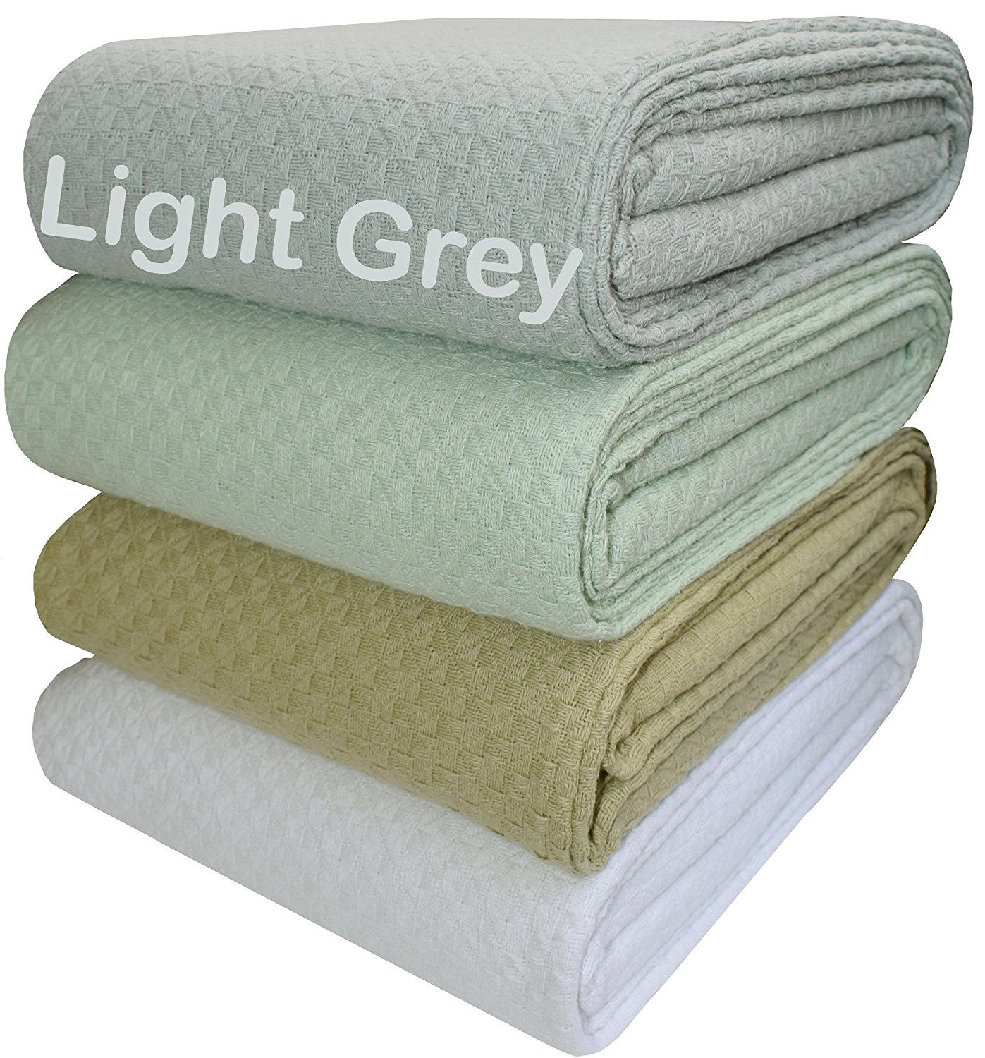100% Soft Premium Cotton Thermal Blanket - King 102x90 Grey - Snuggle in these Super Soft ,breathable Cozy Cotton Blankets - Perfect for Layering any Bed - Provides Comfort & Warmth for years