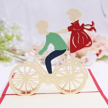 Handmade love romantic boyfriend girlfriend with bicycle paper handmade love romantic boyfriend girlfriend with bicycle paper sculpture pop up foldable cut paper greeting cards m4hsunfo